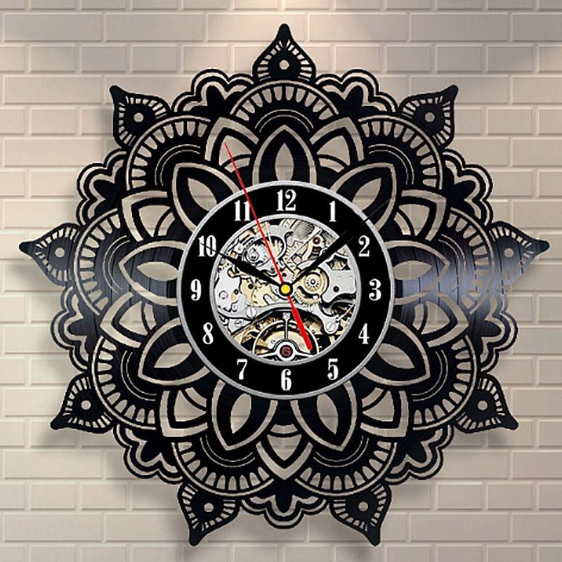 Mandala Flower Vinyl Wall Clock