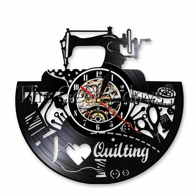 I Love Quilting Vinyl Wall Clock