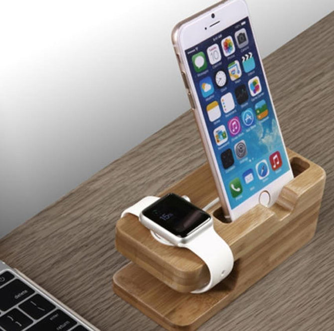 Bamboo Stand Charger for iPhone and watch - gopowear.com
