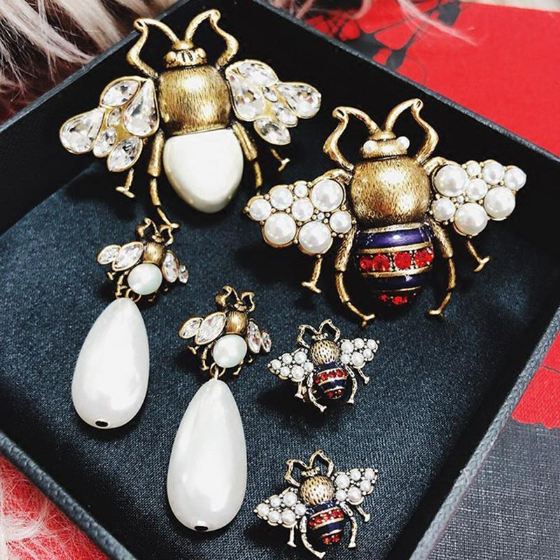 Vintage Simulated Pearl Bee Earrings and Ring