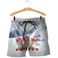 3D All Over Printed Cat Christmas Shirts and Shorts
