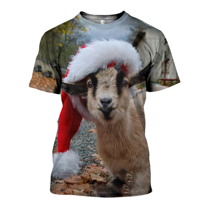 Christmas Goat.3d All Over Printed Baby Goat Christmas Shirts And Shorts