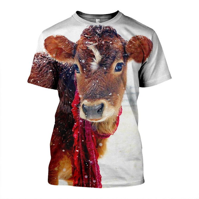 Christmas Cow.3d All Over Printed Christmas Cow Shirts And Shorts