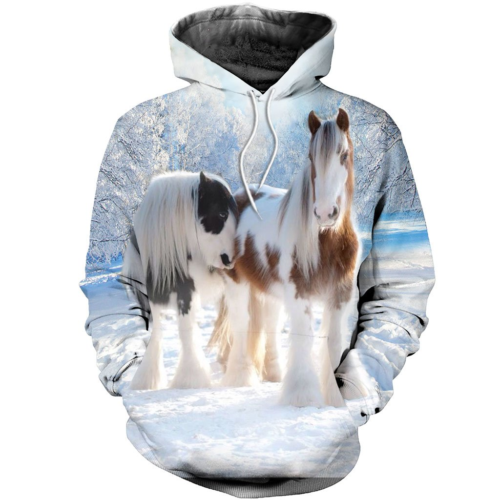 3D All Over Printed Winter Friesian Horse Shirts And Shorts STLL261102