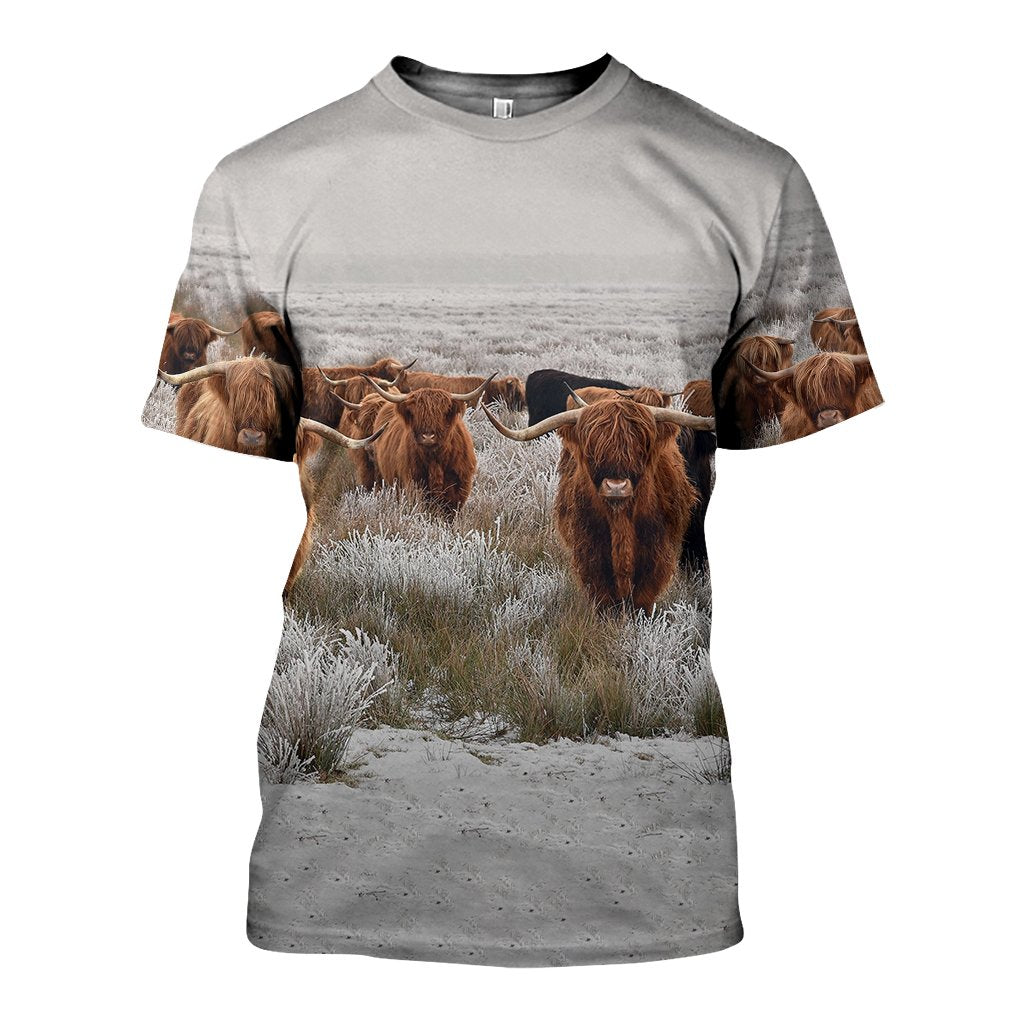3D All Over Printed Highland Cows Shirts and Shorts
