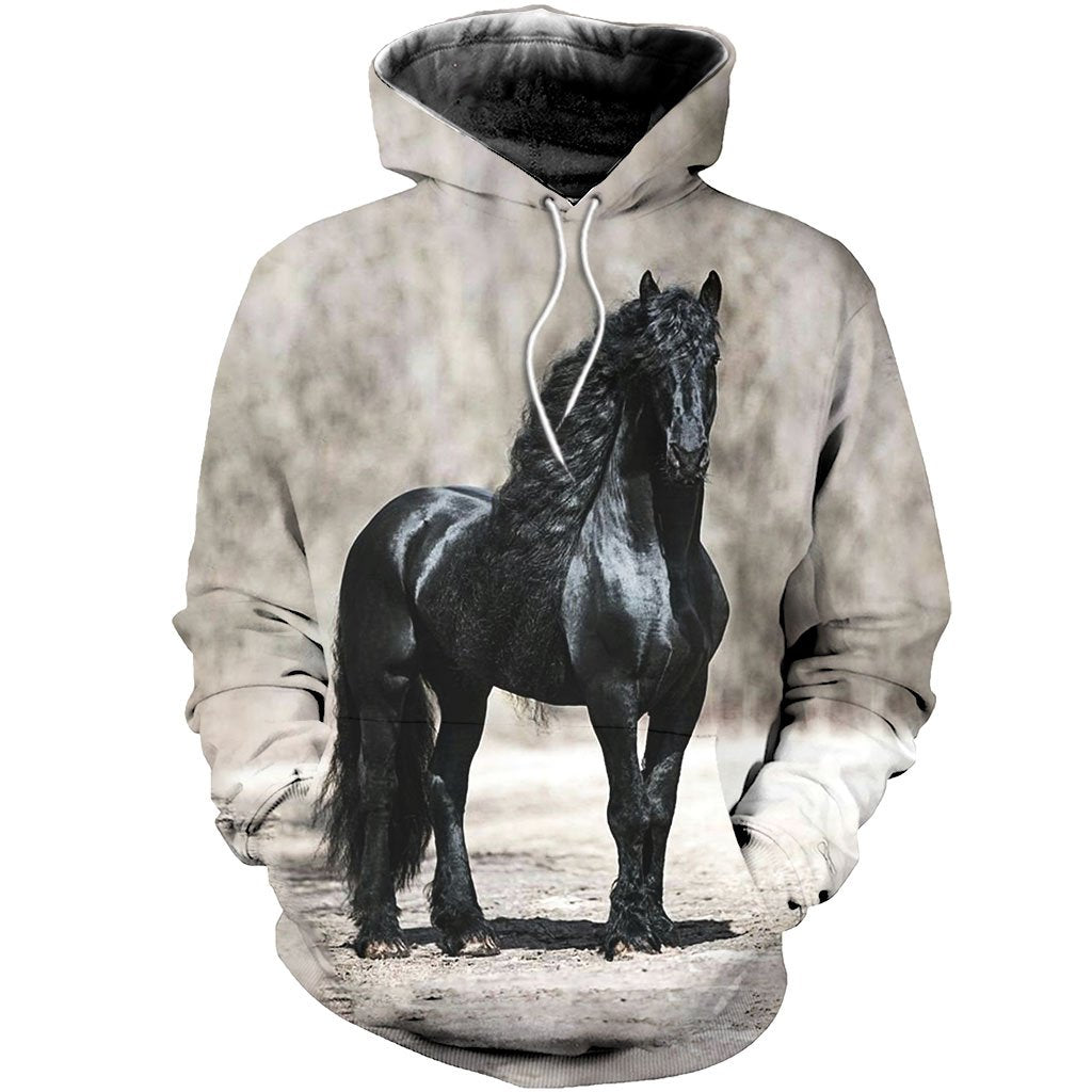 3D All Over Printed Black Horse Shirts and Shorts