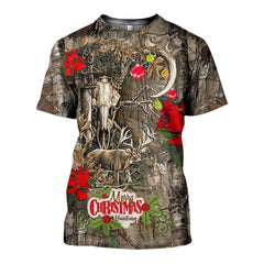 3D All Over Printed Deer Hunting Christmas Shirts and Shorts
