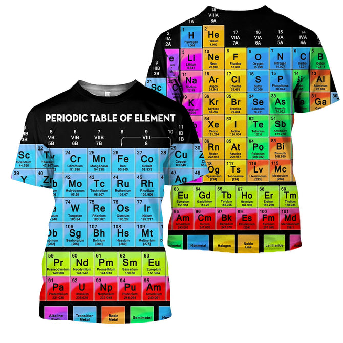3d All Over Printed Periodic Table Of Elements Shirts And