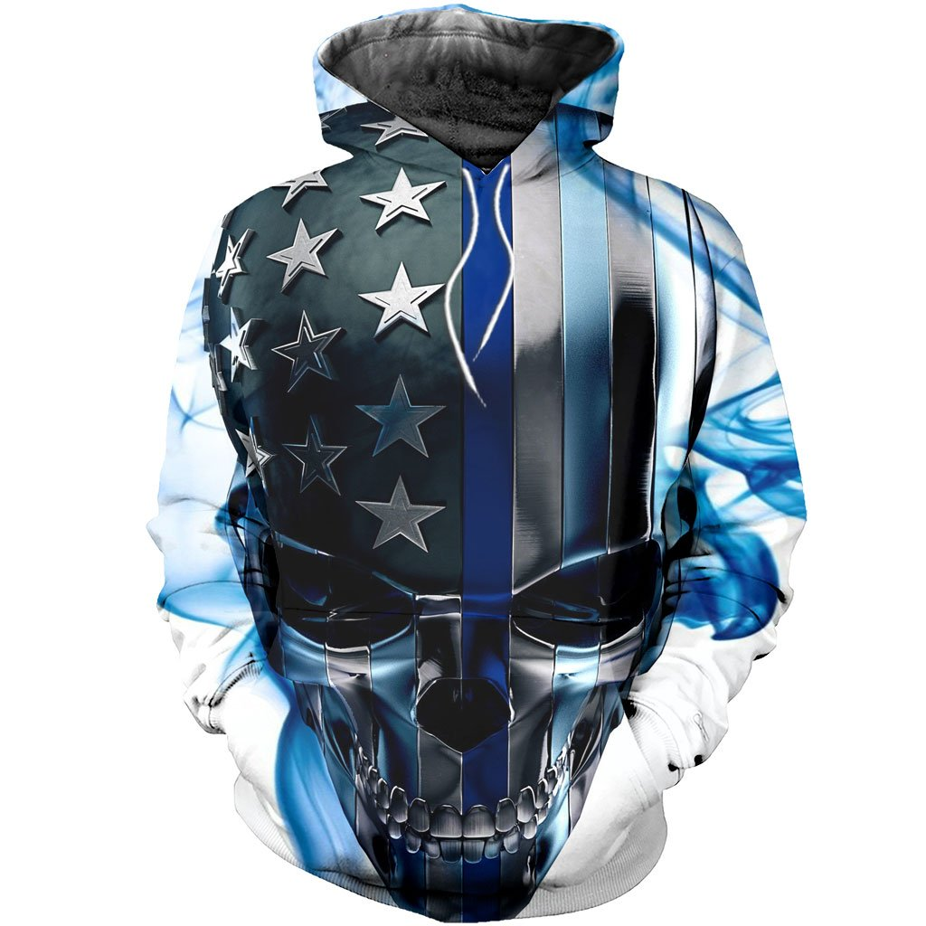 3D All Over Printed  Skull Thin Blue Line Shirts and Shorts