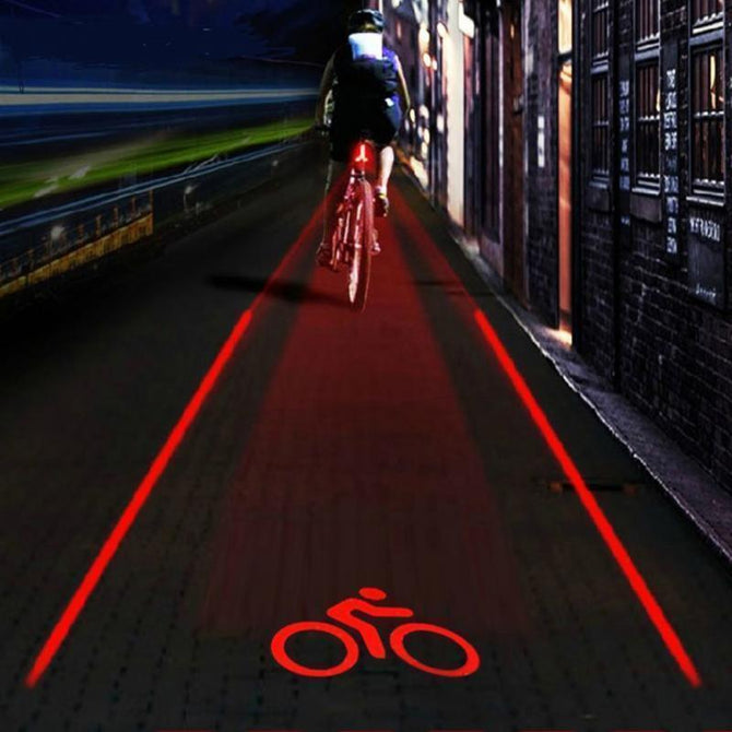 5 LED 2 Laser Bicycle Bike Logo Intelligent Rear Tail Light Safety Lamp