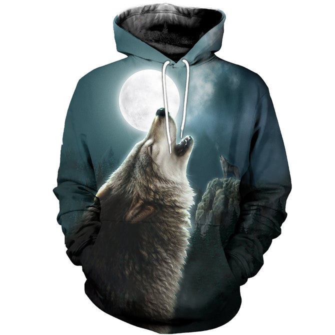 3D printed Wolf and Moon T-shirt Hoodie ATM290303