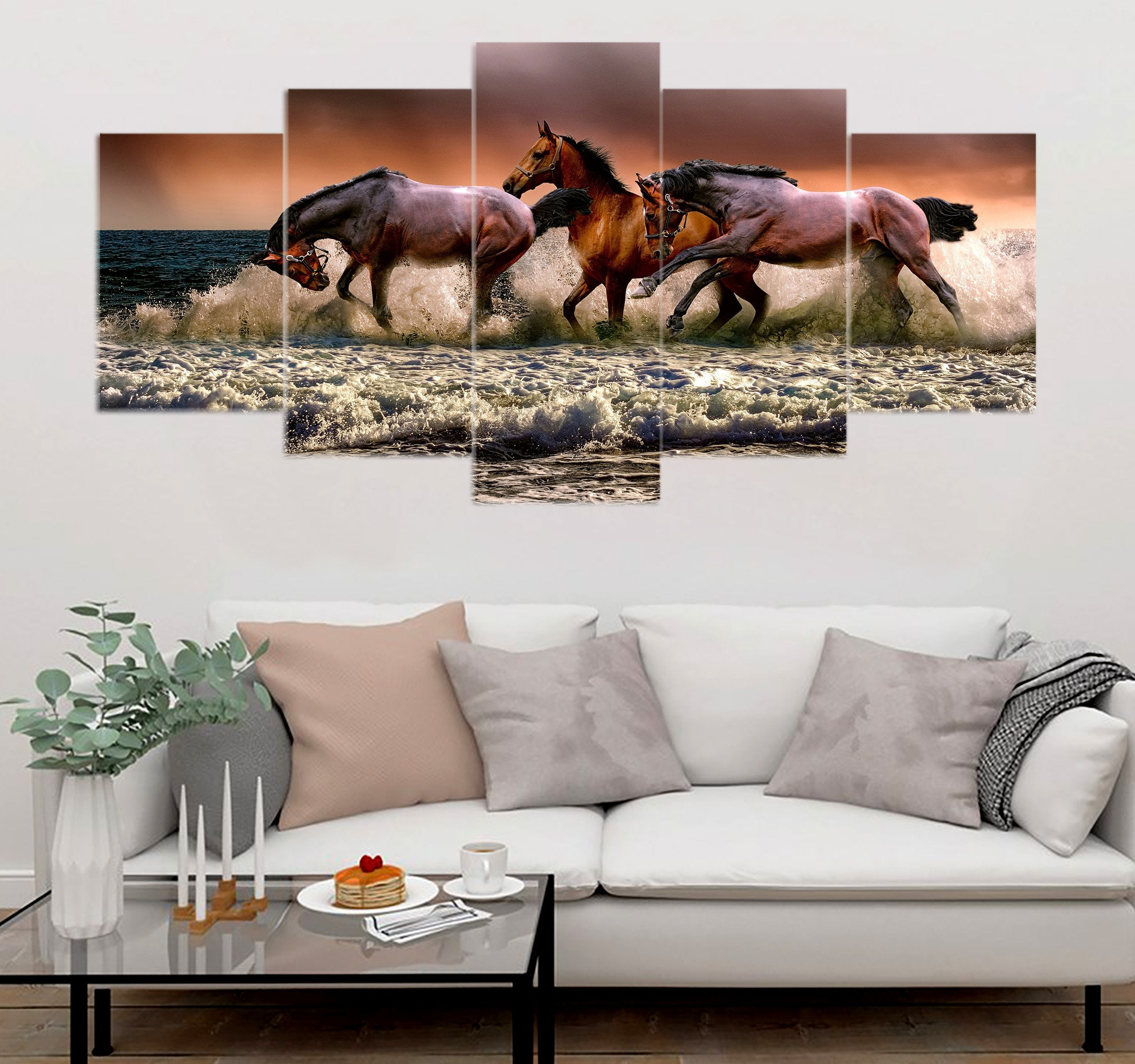 5-piece Horses printed Canvas Wall Art SCDK100413