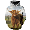 3D printed Gorgeous highland cattle T-shirt Hoodie ADAL160414