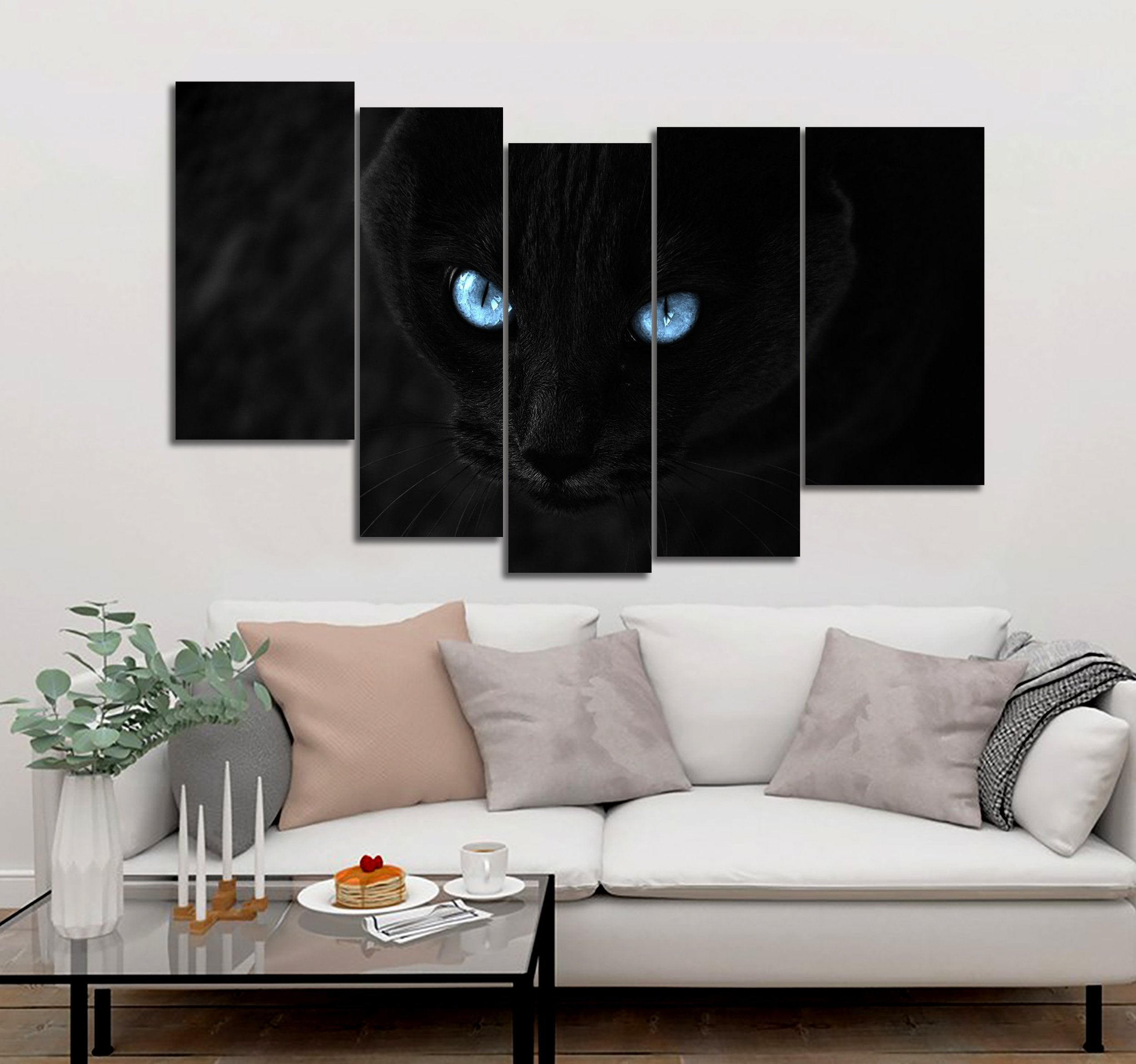 5-piece Black Cat Eyes printed Canvas Wall Art Mode 53 GTM390315 - gopowear.com
