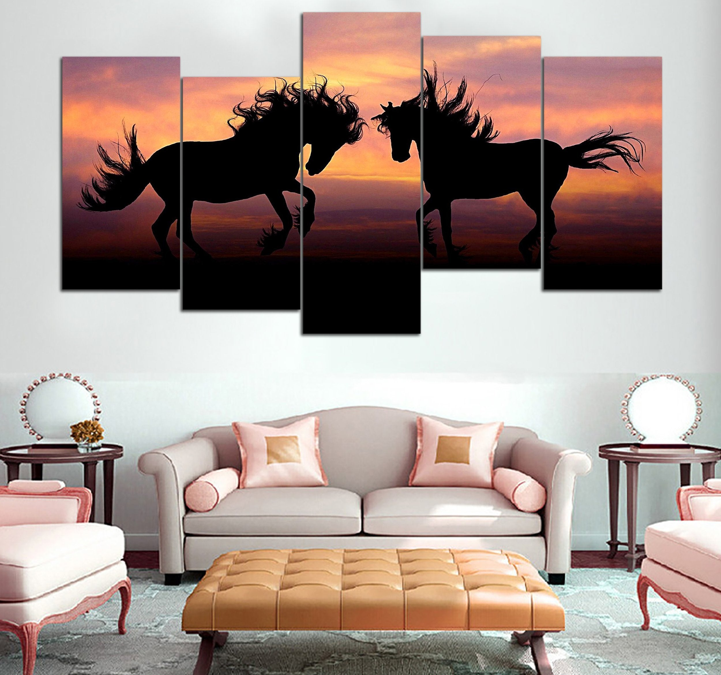 5-piece 2 Horse printed Canvas Wall Art Mode 51 GTL390308