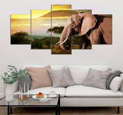 5-piece Elephant printed Canvas Wall Art GTM390310