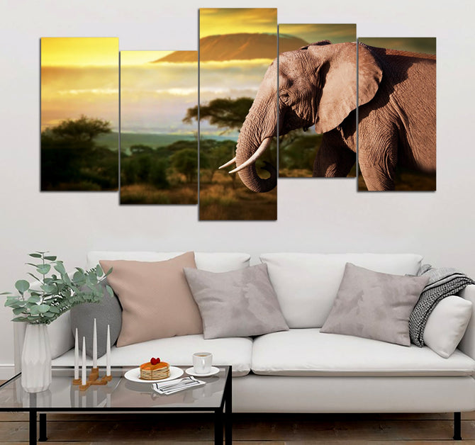 5-piece Elephant printed Canvas Wall Art