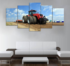 5-piece Nice Tractor printed Canvas Wall Art