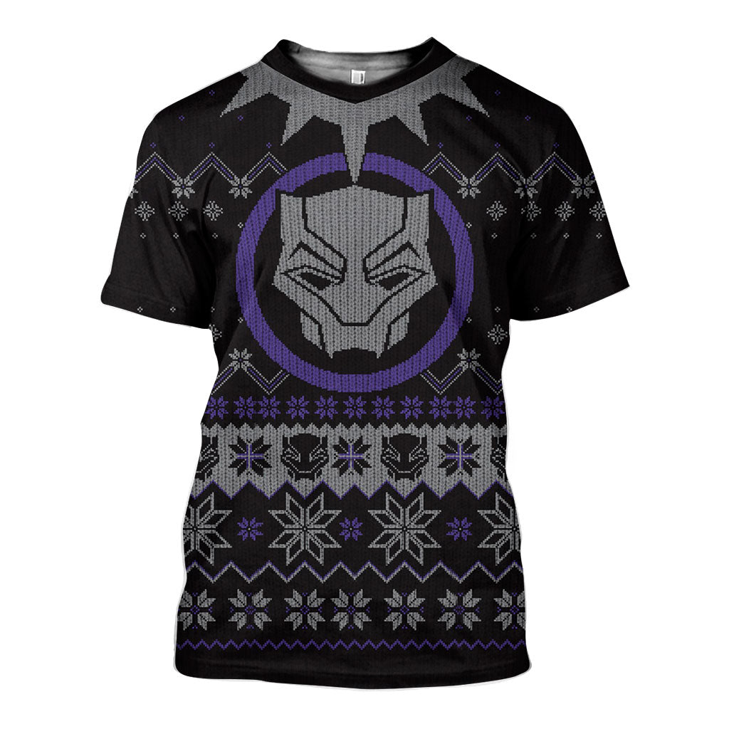 3D All Over Printed Ugly Sweater Black Panther Shirts and Shorts - gopowear.com
