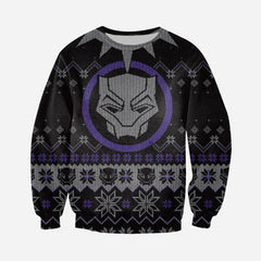 3D All Over Printed Ugly Sweater Black Panther Shirts and Shorts