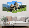5-piece Cows Printed Canvas Wall Art