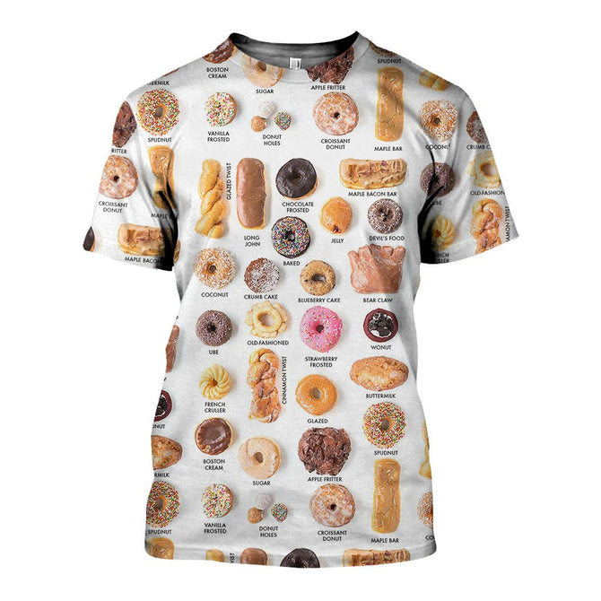 3d All Over Printed Different Types Of Donuts Shirts And Shorts