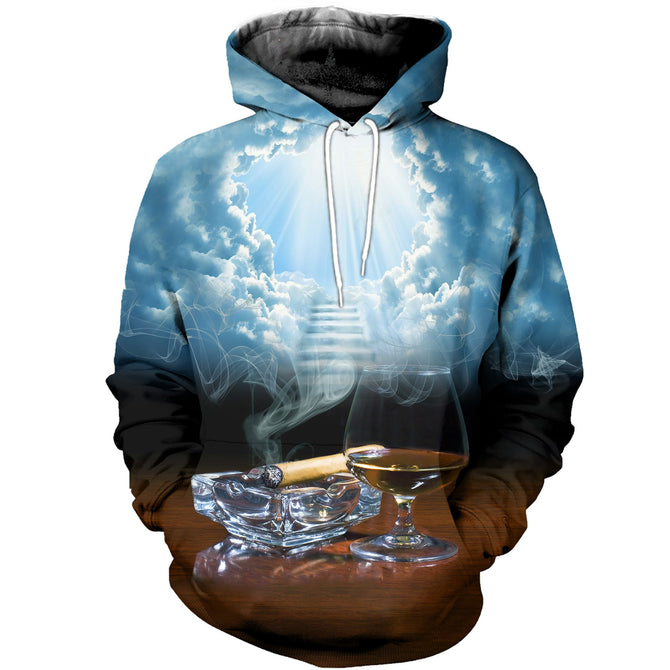 3D printed Bourbon and Cigar T-shirt Hoodie SATK180405