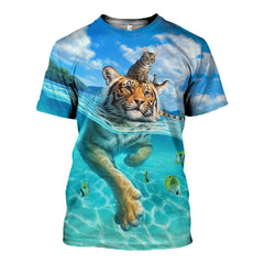 3D printed Cat and Tiger Friends T-shirt Hoodie ATM230303 - gopowear.com