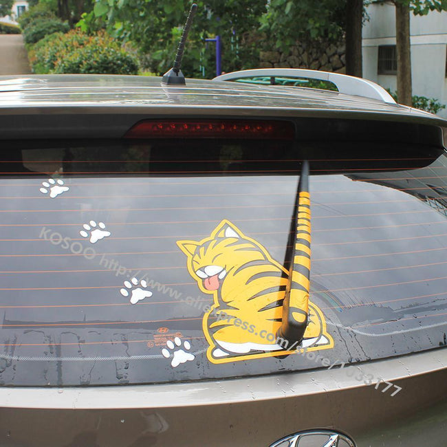 funny moving tail yellow and white cat car sticker
