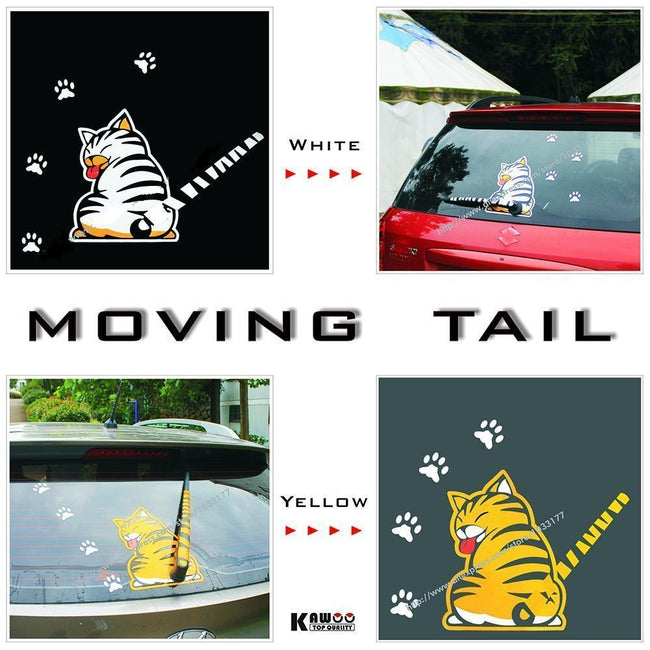 funny moving tail yellow and white cat car sticker - gopowear.com