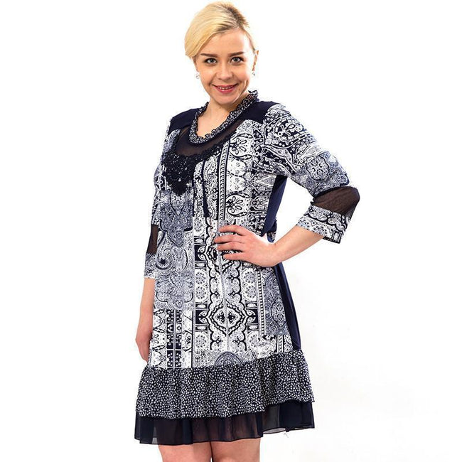 Casual Retro print Lace Party Dress Vestidos Plus Size 5xl 6xl - gopowear.com