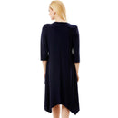 Loose A-Line 3/4 Sleeved Splicing Irregular hem Big size dress 1-6xl - gopowear.com