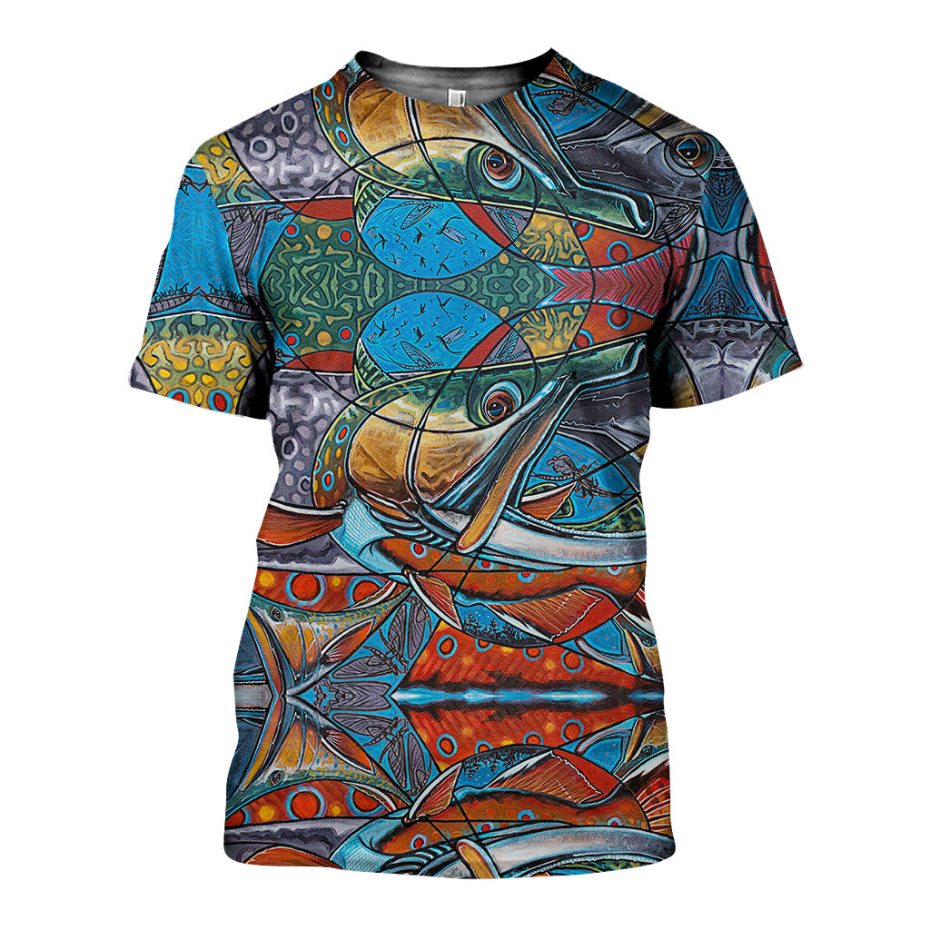 3D All Over Printed  Awesome Salmon Skin Art Shirts and Shorts SCOK151004 - gopowear.com