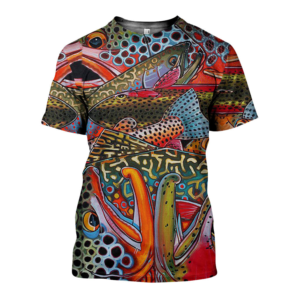 3D All Over Printed  Colorful Salmon Skin Art Shirts and Shorts SCOK151005 - gopowear.com