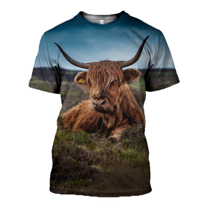3D printed Highland Cattle  T-shirt Hoodie SCTK180407