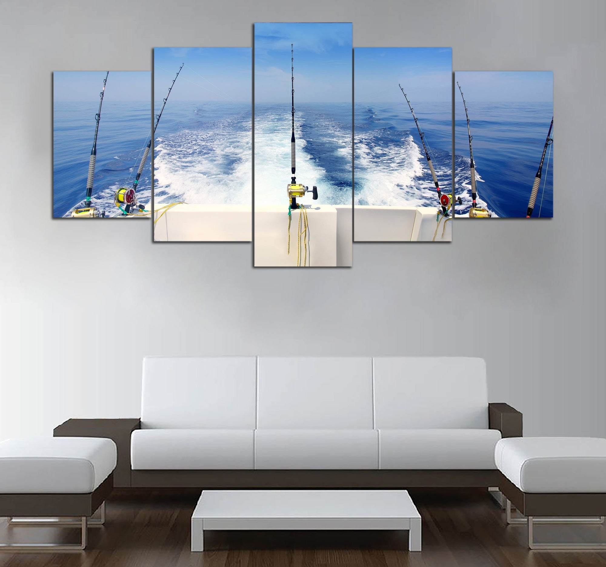 5-piece Sea Fishing Printed Canvas Wall Art