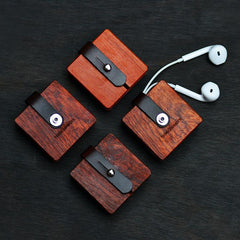 Earphone Cable Leather Wooden Storage Box - gopowear.com