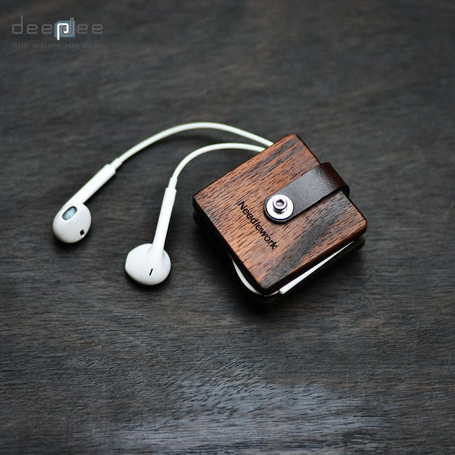 Earphone Cable Leather Wooden Storage Box