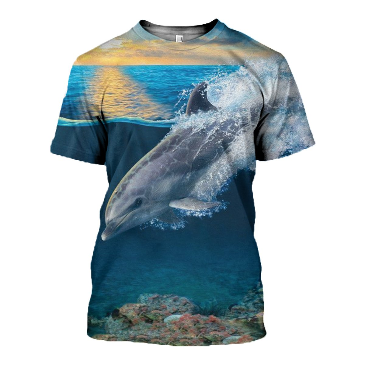 3D printed Dolphin and sunset Tops - gopowear.com