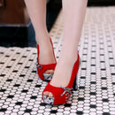 black blue red platform high heels with knots - gopowear.com