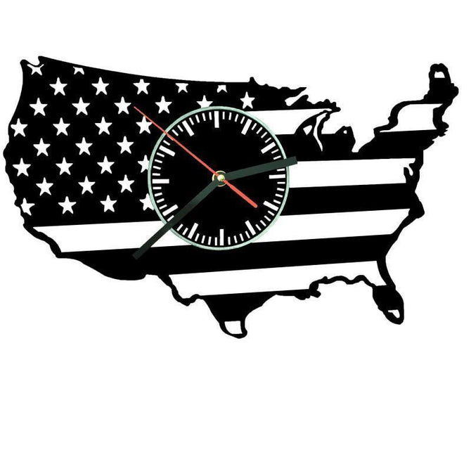 United States of America Silhouette Map Wall Clock