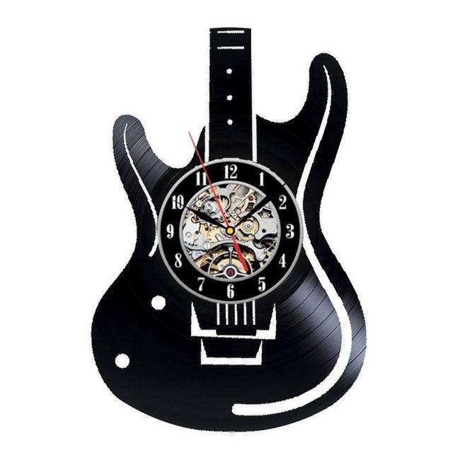 Musical Instruments Electric Guitar Vinyl Record Wall Clock