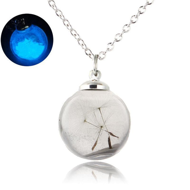 Dandelion Glow In The Dark Wish Glass Bottle Necklaces