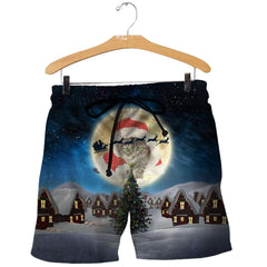 3D All Over Printed Cat Merry Christmas Shirts and Shorts