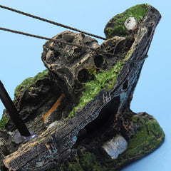 Wreck Sunk Ship Destroyed  Sailing Boat Fish Tank Decor - gopowear.com