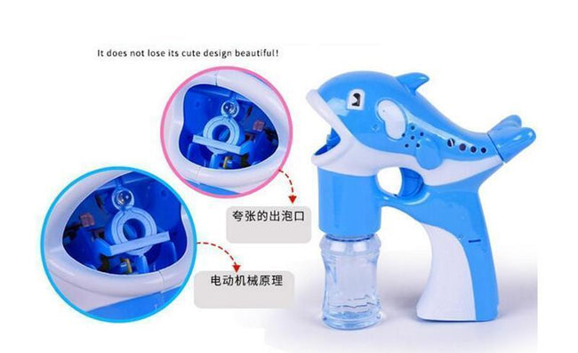 LED Lamp Music Sound ABS Plastic Dolphin Bubble Gun
