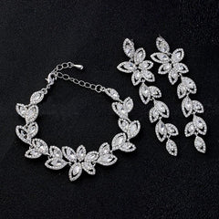 Leaf Crystal Jewelry Sets J1057 - gopowear.com