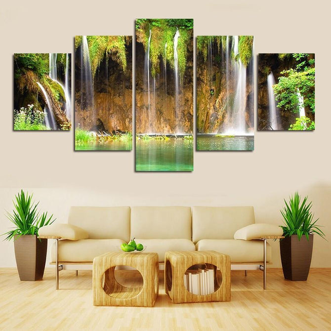 5-piece Little Waterfall Landscape printed Canvas Wall Art SM100608