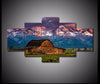 5-piece Barn Rocky Mountains Landscape printed Canvas Wall Art