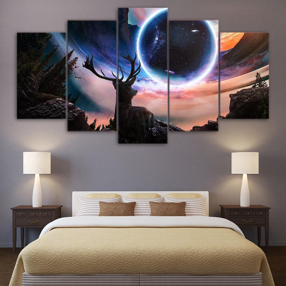 5-piece Deer and Galaxy printed Canvas Wall Art SM240403 - gopowear.com